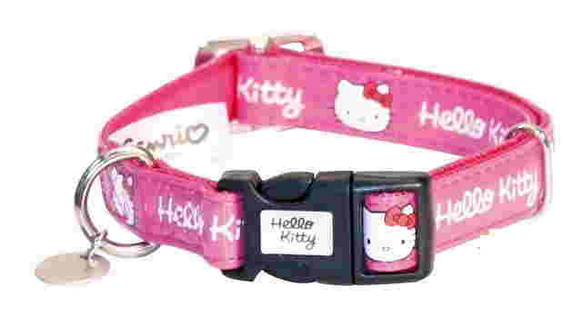 Collare per cane similpelle lucida hello kitty 35-50x20mm rosso