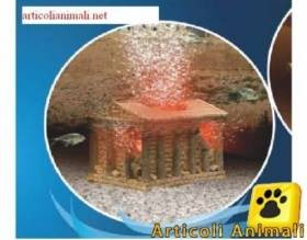 Decorazione acquario tempio greco con new areatore bubble maker e led h2show