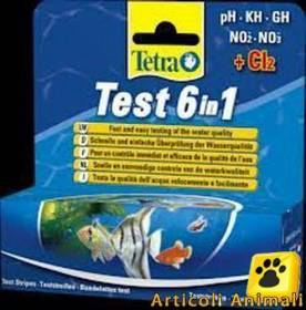 TETRA TEST ACQUARIO 6 IN 1 25 STRISCE PH GH NO3 NO2 KH CL2